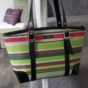 Kate Spade Green and Pink Striped Shoulder Tote